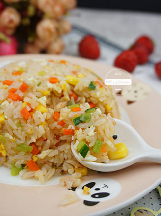 Fried Rice with Tomato Sauce and Vegetables for Baby Growth recipe