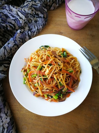 Fried Noodles with Seasonal Vegetables and Pork recipe