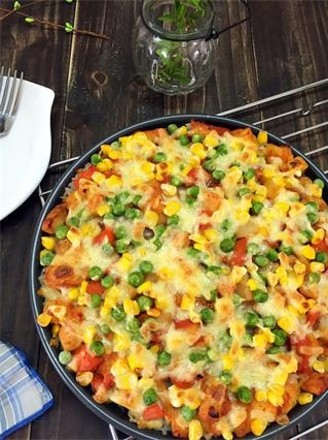 Baked Rice with Chicken and Seasonal Vegetables recipe