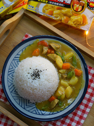 Beef Balls and Seasonal Vegetable Curry Rice recipe
