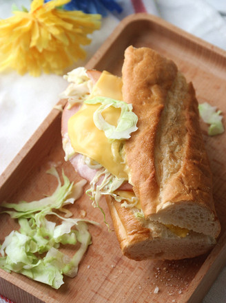 Cheese, Ham and Vegetable Baguette Sandwich recipe