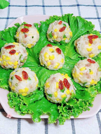 Steamed Rice Balls with Bacon and Seasonal Vegetables recipe