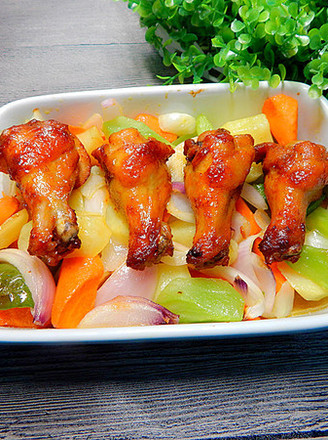Roasted Chicken Wing Roots with Seasonal Vegetables recipe
