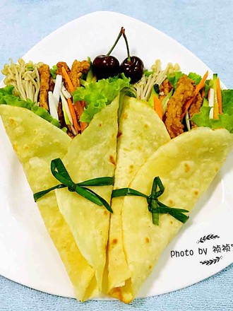Chinese Mexican Chicken Rolls with Seasonal Vegetables recipe