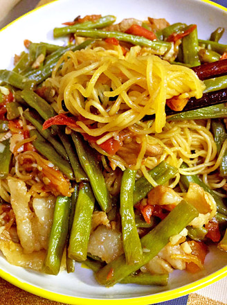 Braised Noodles with Beans recipe