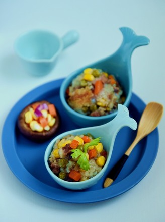 Colorful glutinous rice with seasonal vegetables recipe