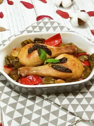 Grilled Chicken Drumsticks with Garlic and Seasonal Vegetables recipe